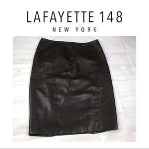 Lafayette 148 Dark Brown Leather Skirt. Sz 8